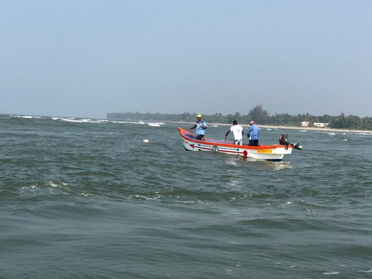 Boat trip at Devbagh Sangam in India