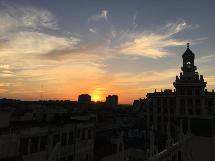 Beautiful Sunset views from the Breakfast Terrace at the Plaza Hotel in Havana, Cuba